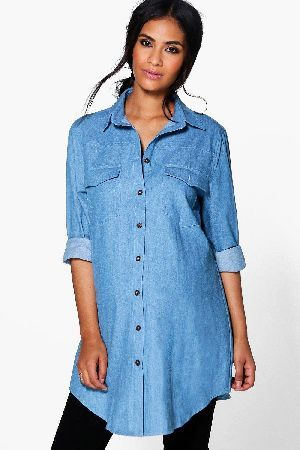 Boohoo Maternity Ruffle Detail Denim Shirt Cheap Sale Low Shipping ULZaUIZG