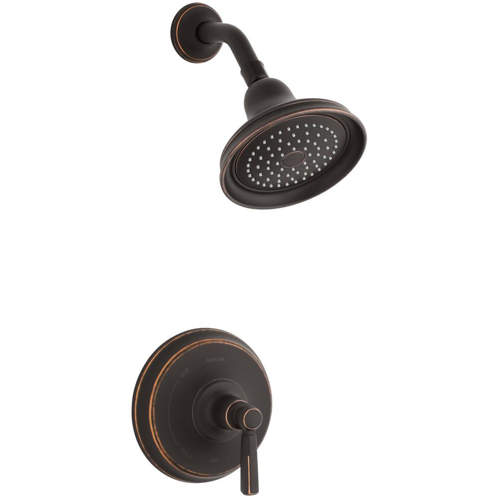 Kohler Bancroft 1 Spray 6 83 In 2 5 Gpm Fixed Showerhead With Metal Lever Handle In Oil Rubbed Bronze Fixed Shower Head Oil Rubbed Bronze Shower Faucet