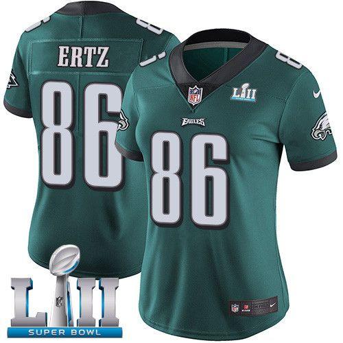 nike eagles 86 zach ertz green women 2018 super bowl lii vapor untouchable player limited jersey