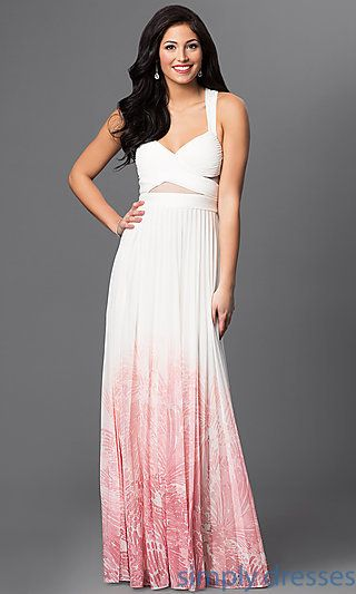 Long Ivory-Pink Ombre Prom Dress by Betsy & Adam | Pinterest | Ombre ...