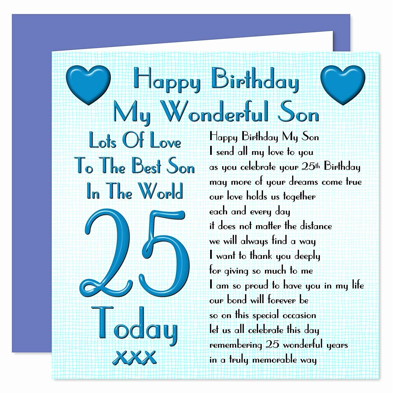 Birthday Ecards For Son Luxury Funny Birthday Cards For Son Son 25th Happy Birthday Card In 2021 Happy 20th Birthday Birthday Wishes For Son Birthday Cards For Brother