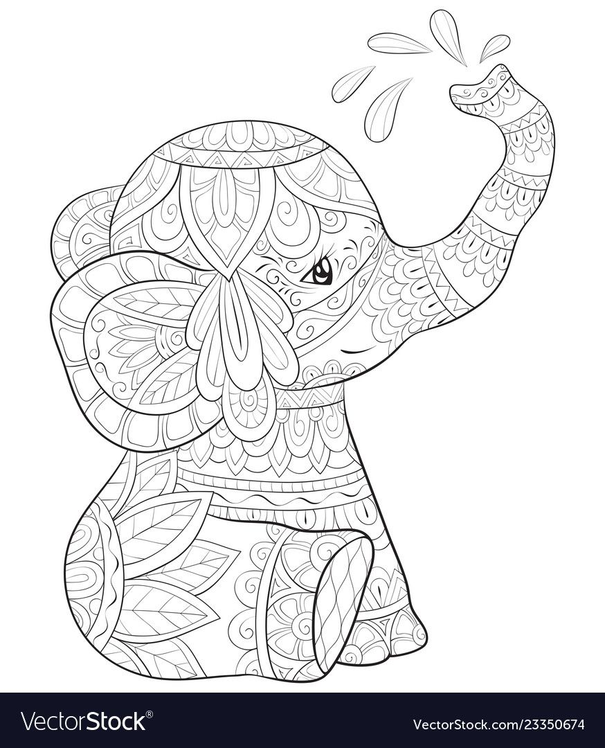 A Cute Cartoon Elephant With Ornaments Image For Relaxing Activity A Coloring Book Page For Elephant Coloring Page Mandala Coloring Pages Animal Coloring Pages