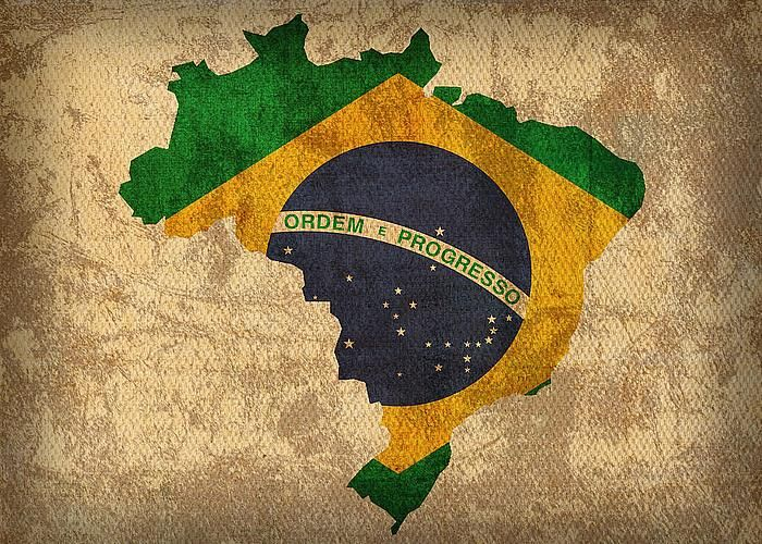 Map Of Brazil With Flag Art On Distressed Worn Canvas Greeting