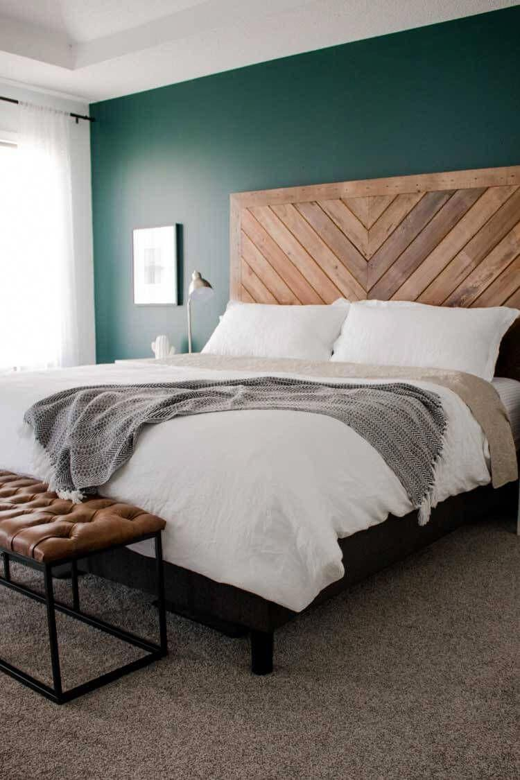 Add A Touch Of Blue To Your Room White Wood Headboard Diy Wood