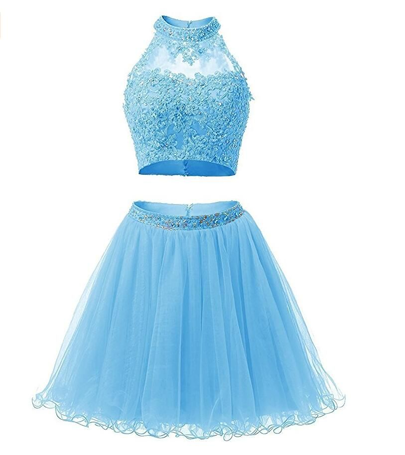 Light Blue Tulle Graduation Dress High School Lace Appliques High ...