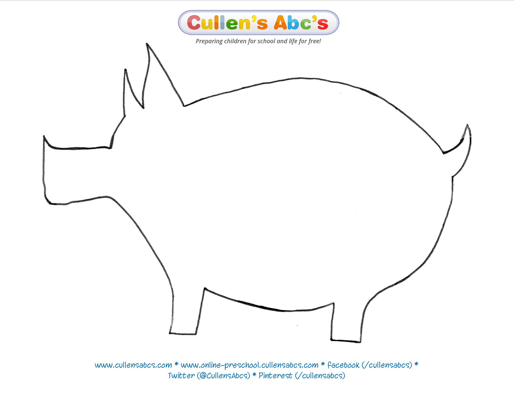 Pig Pattern Template Cullensabcs Patterns PigpatternPDF