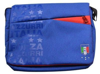 "Federazione Italiana Giuoco Calcio 13,3"" shoulder strap bag, blue Linen bag #FIGC"