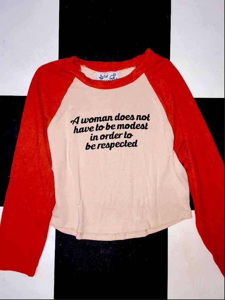 9698e9ba6cbc9f RESPECT ALL WOMEN RAGLAN IN NUDE Wish Clothing, Clothing Ideas, Sweater  Shirt, Shirt