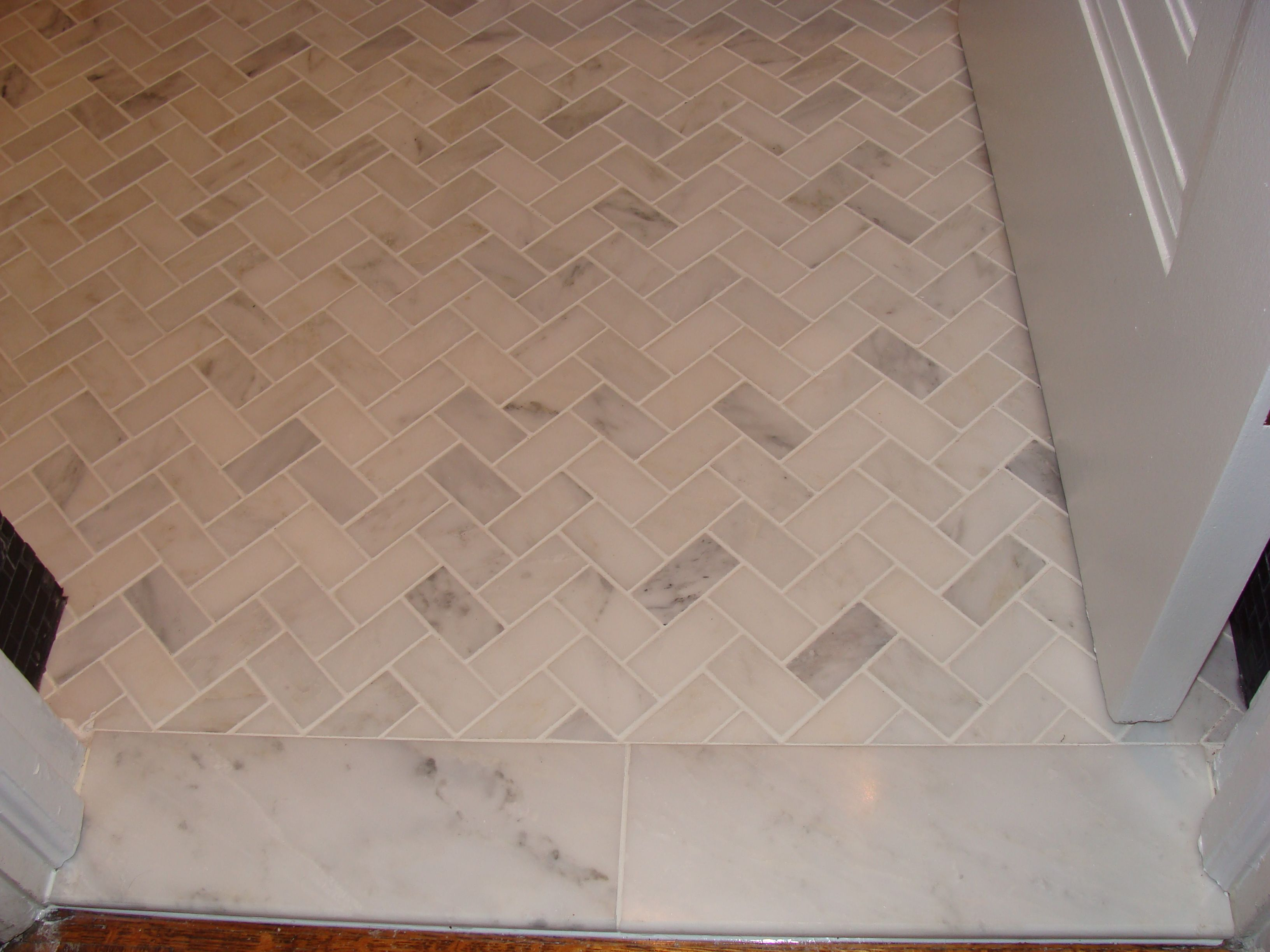 Marble Tile Flooring Ideas: Marble Tile Floor, Herringbone Layout