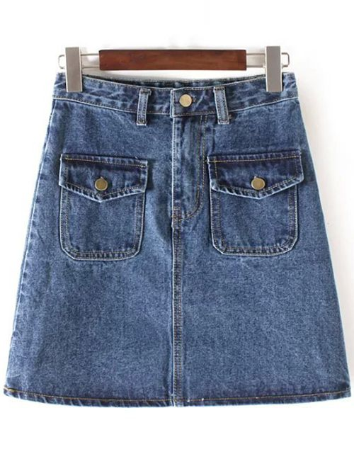 Bleach Wash High Waisted Denim Skirt