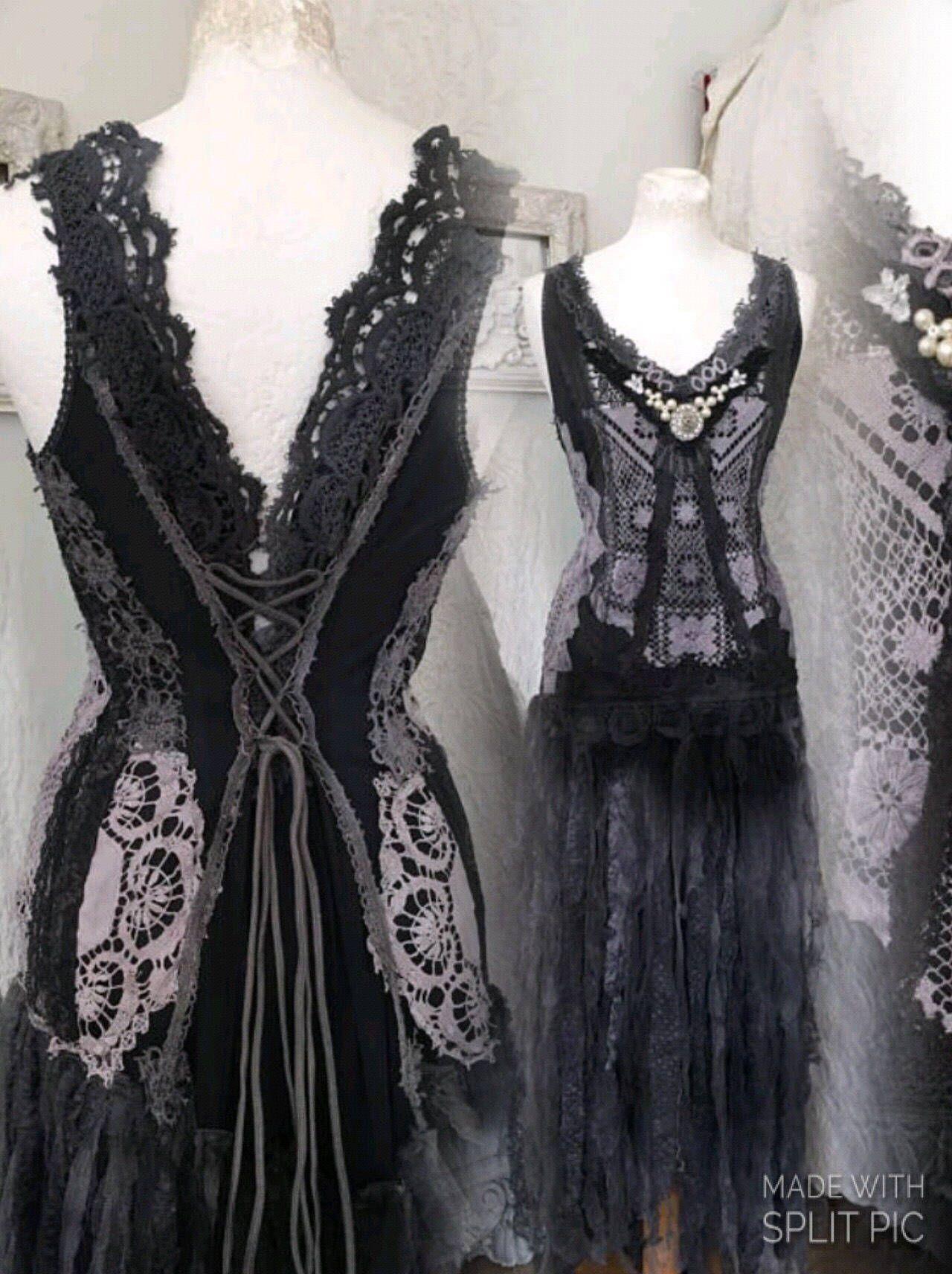 Gothic wedding dress black and dark blue wedding dress goth dress