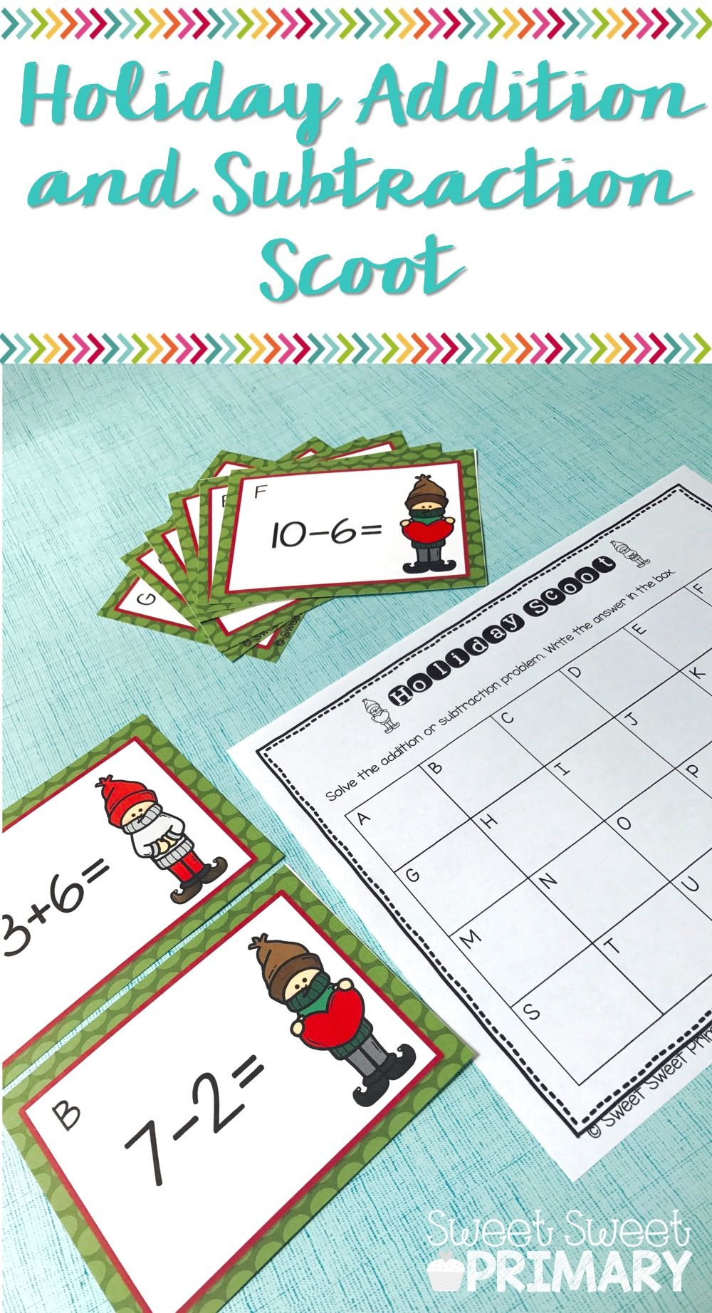 Holiday Addition and Subtraction Scoot   Kindergarten, Recording ...