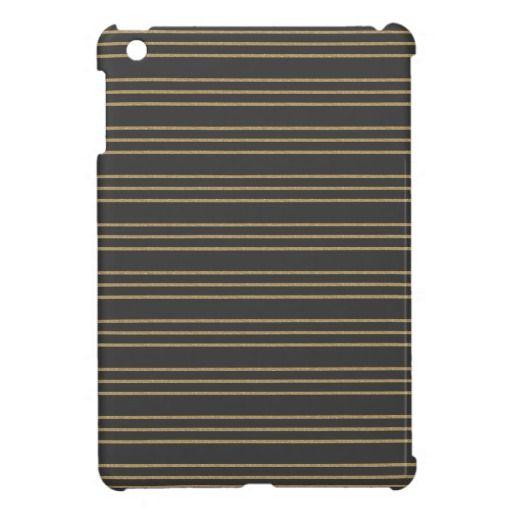 Dark Gray and Gold Glitter Striped iPad Mini Case