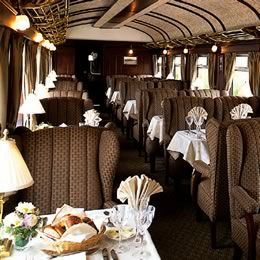 http://theinspiredroom.net/2007/10/18/the-orient-express/  A dining car on the Mystery Trip on the Orient Express.