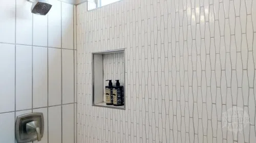 Should You Place A Shower Niche In An Exterior Wall Maybe If Just Needs Paint Shower Niche Corner Shelves Shower Shelves