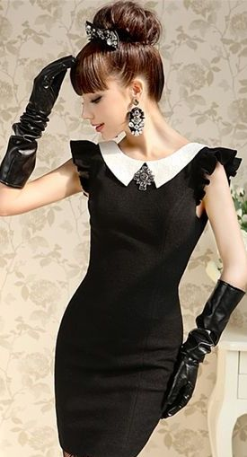 black dress with white bow