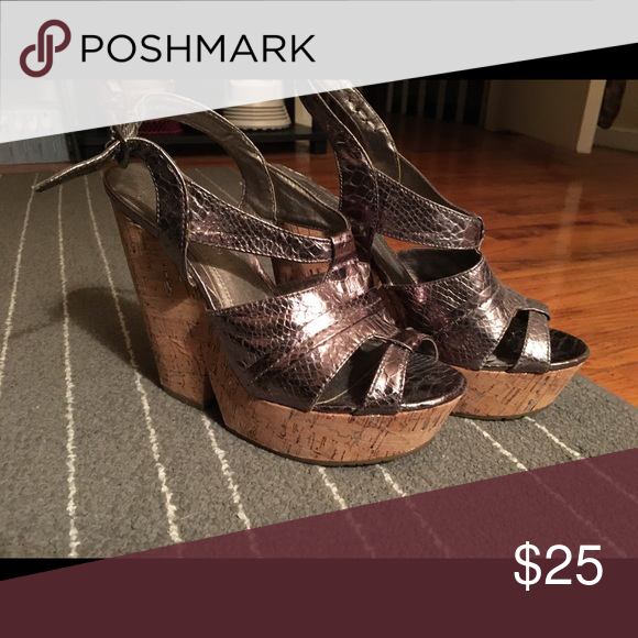 b1c22ad6e51 Size 7 BCBGeneration cork heels. Silver cork platform heel. BCBGeneration  Shoes Heels