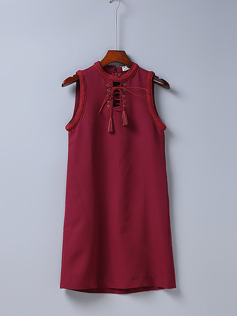 #AdoreWe #JustFashionNow Red Dresses - Designer yinbo Island Life Burgundy A-line Sleeveless Solid Dress - AdoreWe.com