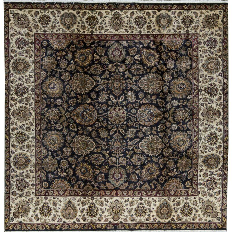 Square Oriental Hand Knotted Wool Black Cream Area Rug In 2020 Cream Area Rug Area Rugs Rugs