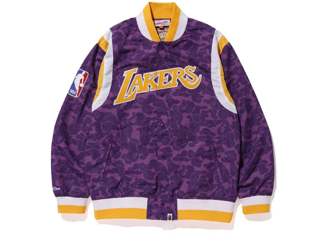 Bape X Mitchell Ness Lakers Warm Up Jacket Purple Bape Jacket Jackets Lakers Jacket
