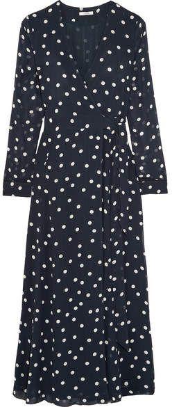 4bb5f468 GANNI - Polka-dot Chiffon Wrap Dress - Navy Polka Dot Dress #style ...