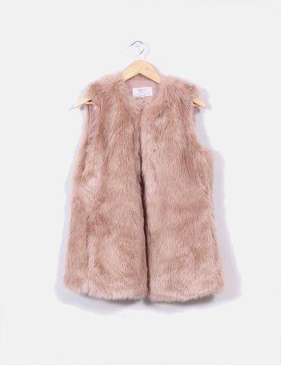 Abrigo zara rosa pelo