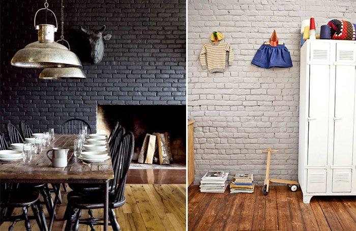 Mur en briques peints en couleur Gris foncé pour une salle à manger - table de salle a manger grise