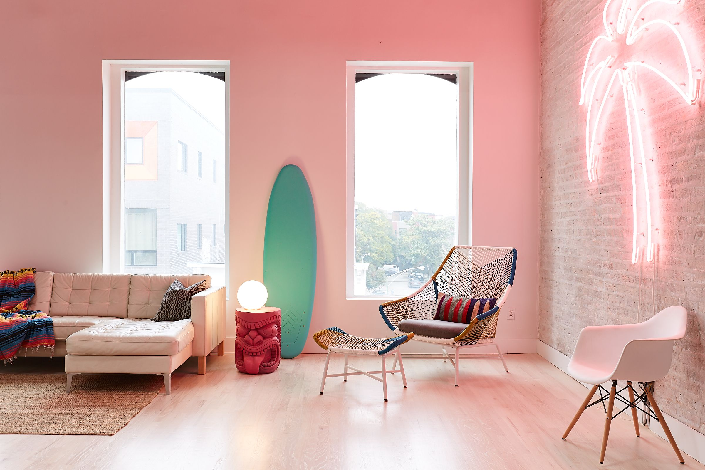 Tropical Themed Living Room Hot Pink