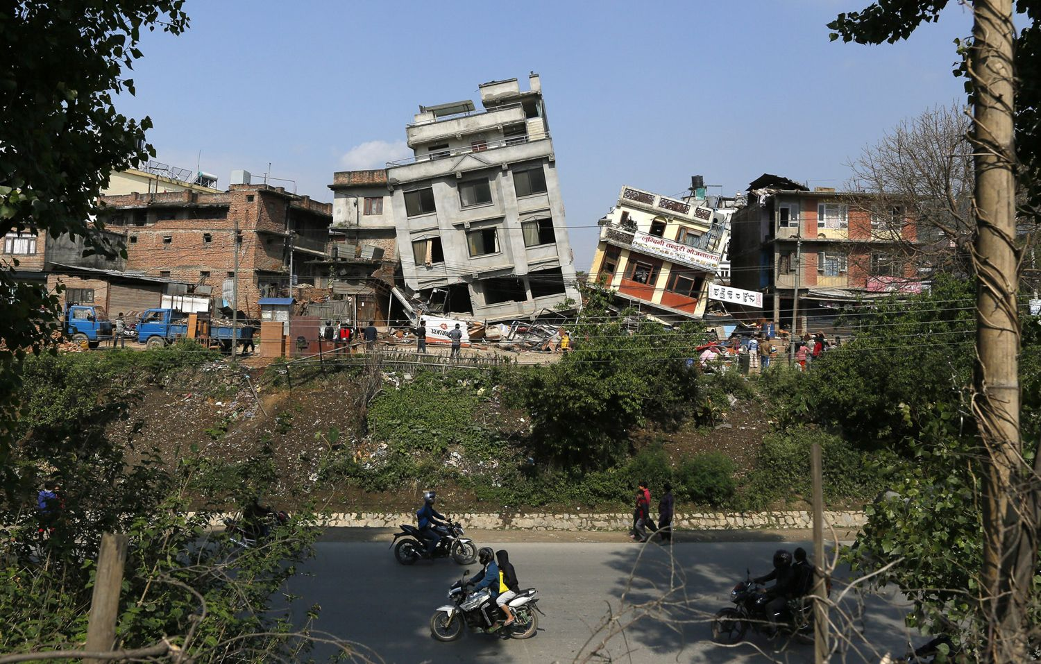 Quake-damaged buildings in Kathmandu, Nepal, on April 27, 2015.