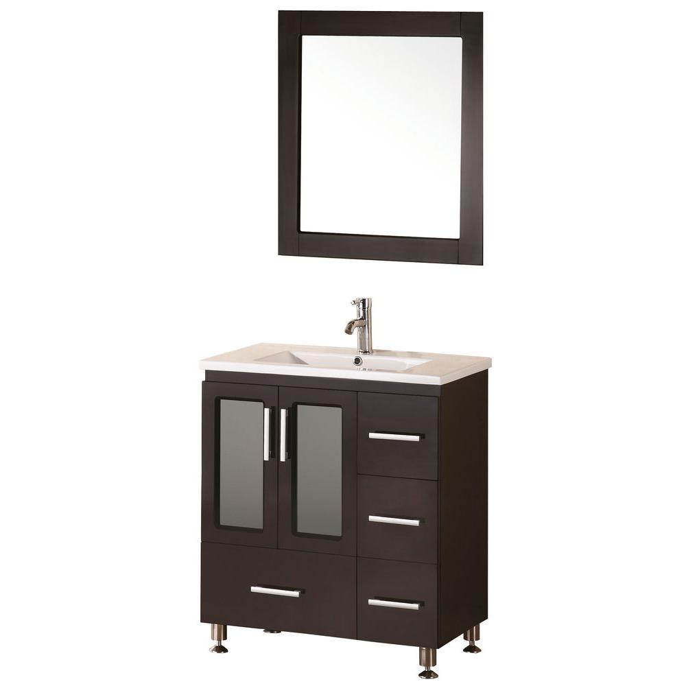 Design Element Stanton 32 In W X 18 In D Vanity In Espresso With Porcelain Vanity Top And Mirror In Espresso B30 Ds The Home Depot Contemporary Bathroom Vanity Modern Bathroom Vanity [ 1000 x 1000 Pixel ]