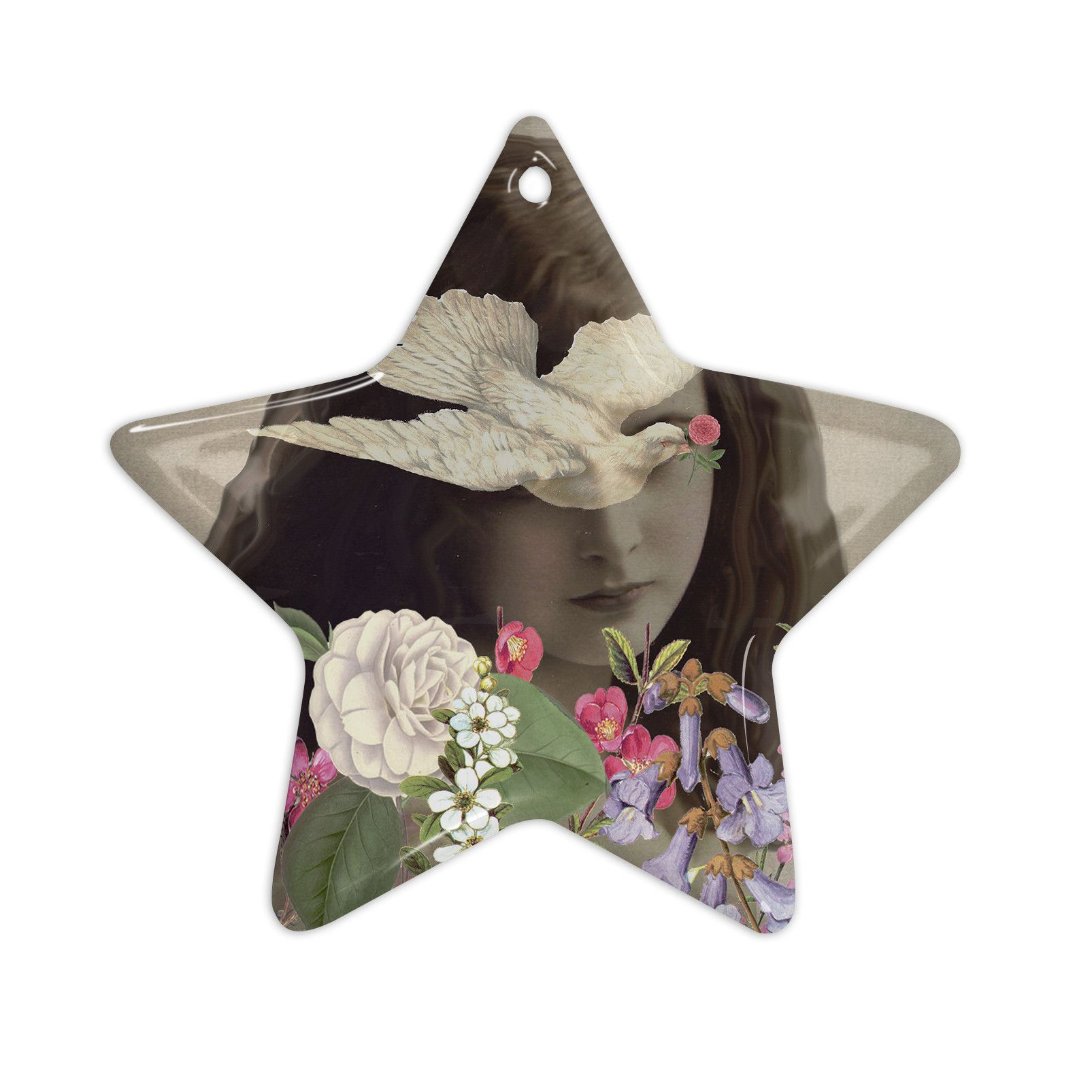"""Suzanne Carter """"Doves Eyes"""" Ceramic Star Ornament"""