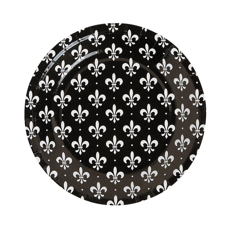 Custom u0026 Unique Inch 100 Count Bulk Multi-Pack Set of Medium Size Round Circle Disposable Paper Plates w/ Fancy Royal Flourish Fleur De Lis Crown  Black ...  sc 1 st  Pinterest & Fleur De Lis Dessert Plates - OrientalTrading.com | Bridal Shower ...