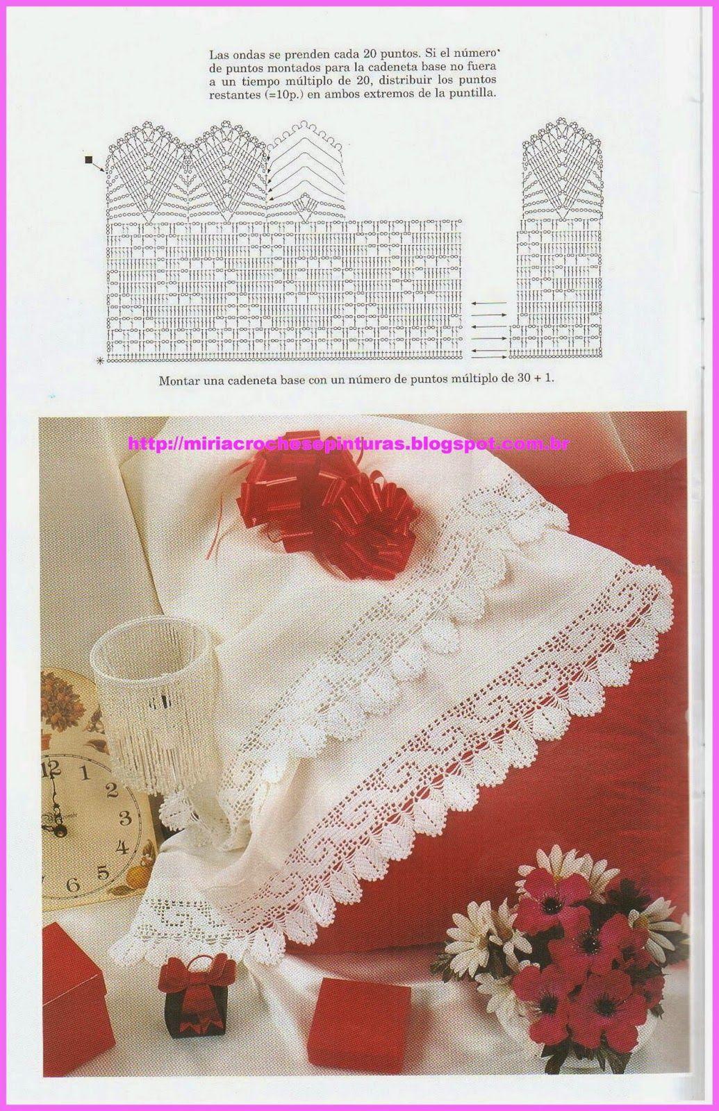 Filet crochet lace edging: waves & leaves ~~ MIRIA CROCHÊS E ...