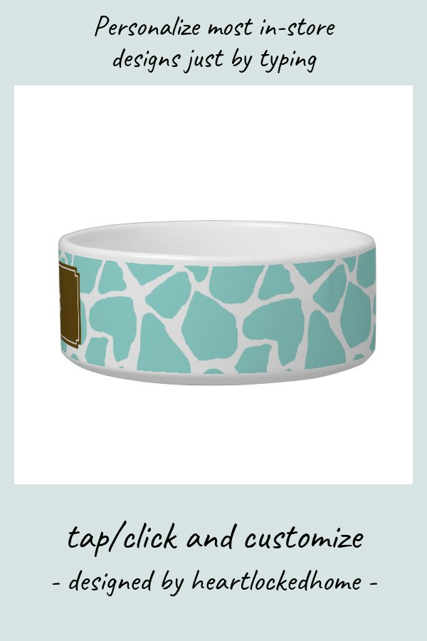 Aqua Giraffe Pattern Bowl | Zazzle.com