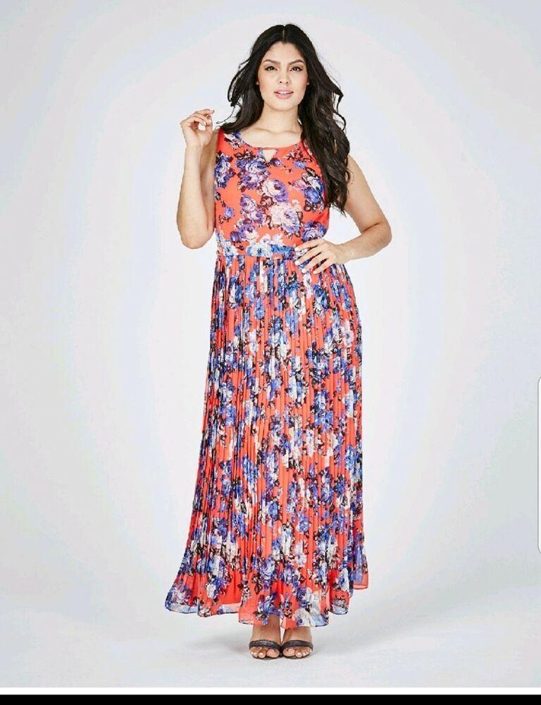 Womens Lovedrobe Print Pleated Maxi Dress Simply Be