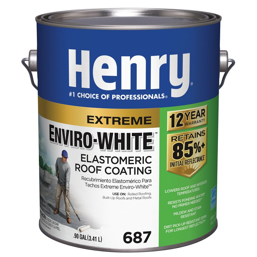 Henry Company Enviro White 0 9 Gallon Elastomeric Reflective Roof Coating 12 Year Limited Warranty He687146 In 2020 Roof Sealant Roof Coating Cool Roof