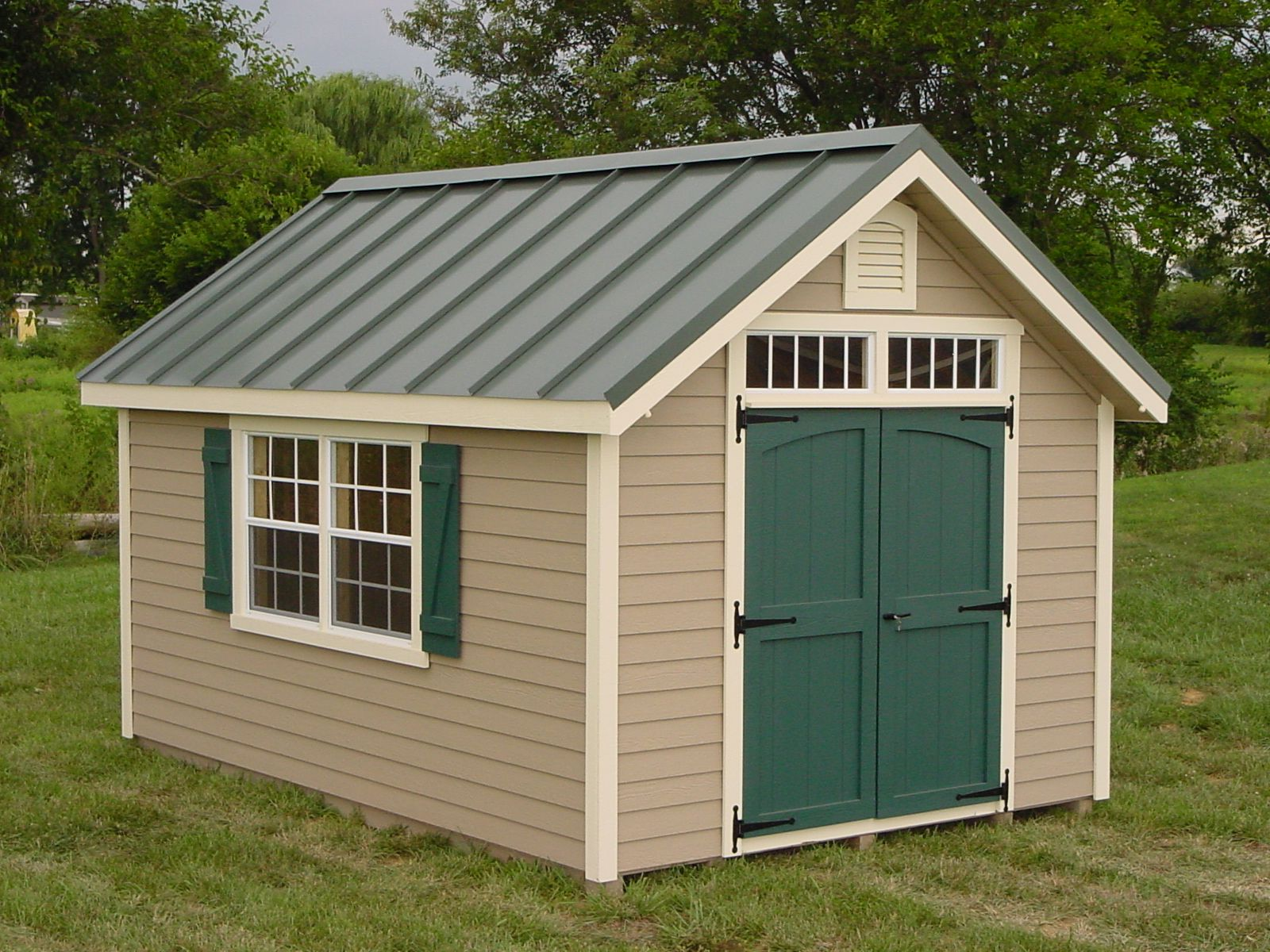 This English Garden shed features our standing seam metal
