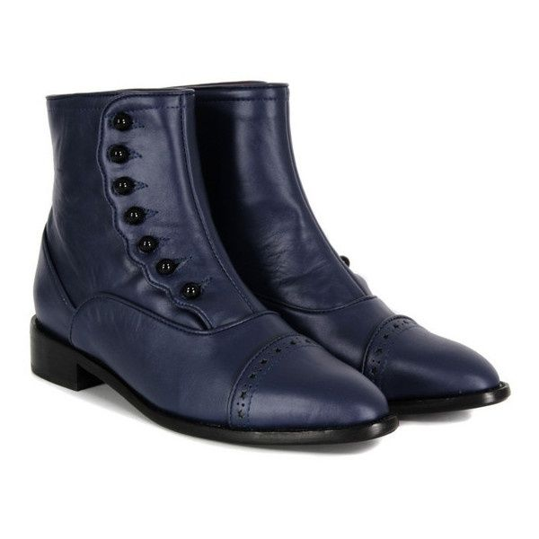 F.Troupe - womens, flat navy leather ankle boots with a Victorian style  button