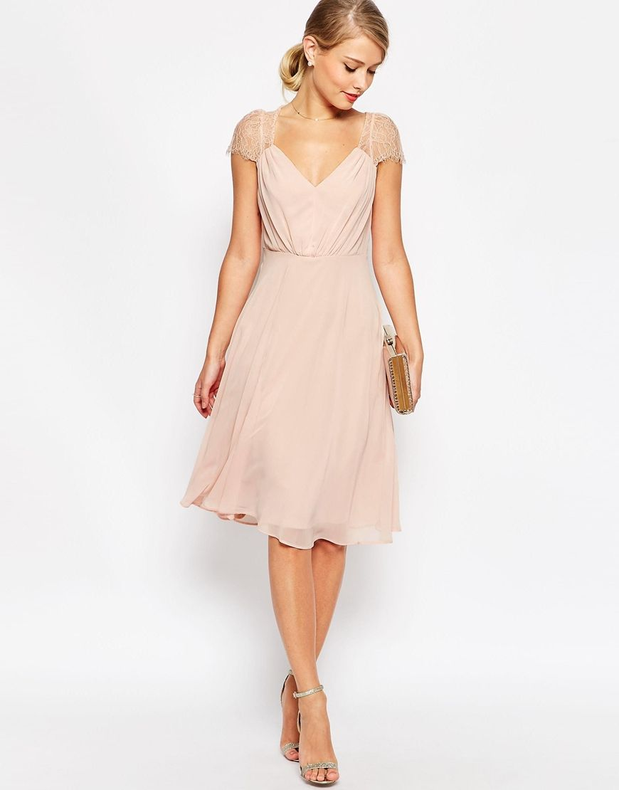 Asos kate lace midi dress also available in full length for Dresses to attend wedding