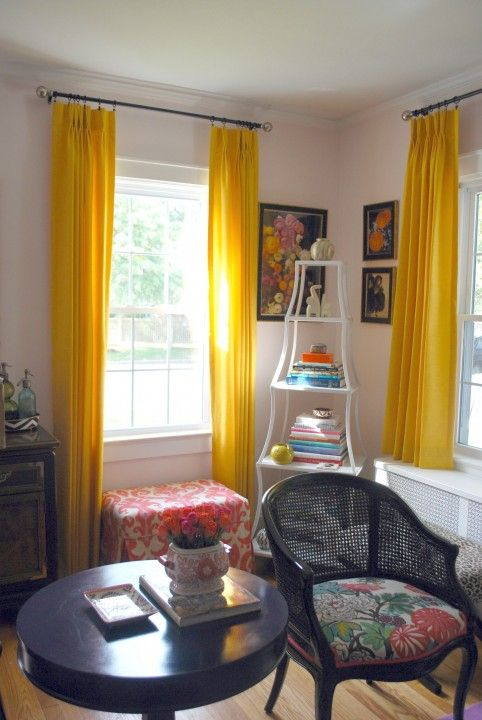 Color Pattern Effortlessstyle Yellow Curtains Living Room Dining Room Combo Brown Dining Room