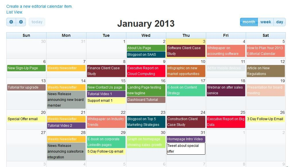 pcworld, 2015) This is an image of the calendar used in office 365 - editorial calendar template