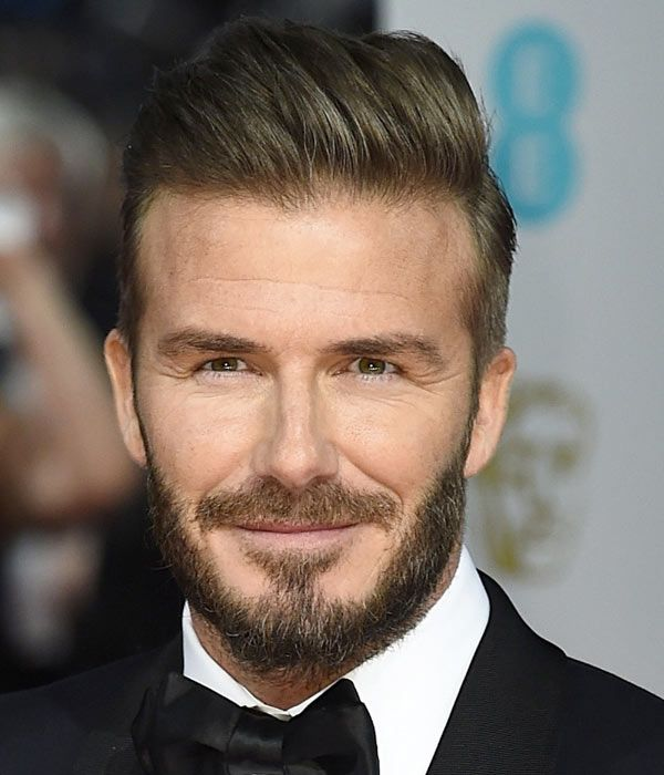 David Beckham S Hair 2015 Baftas David Beckham Beard David Beckham Hairstyle Beckham Hair