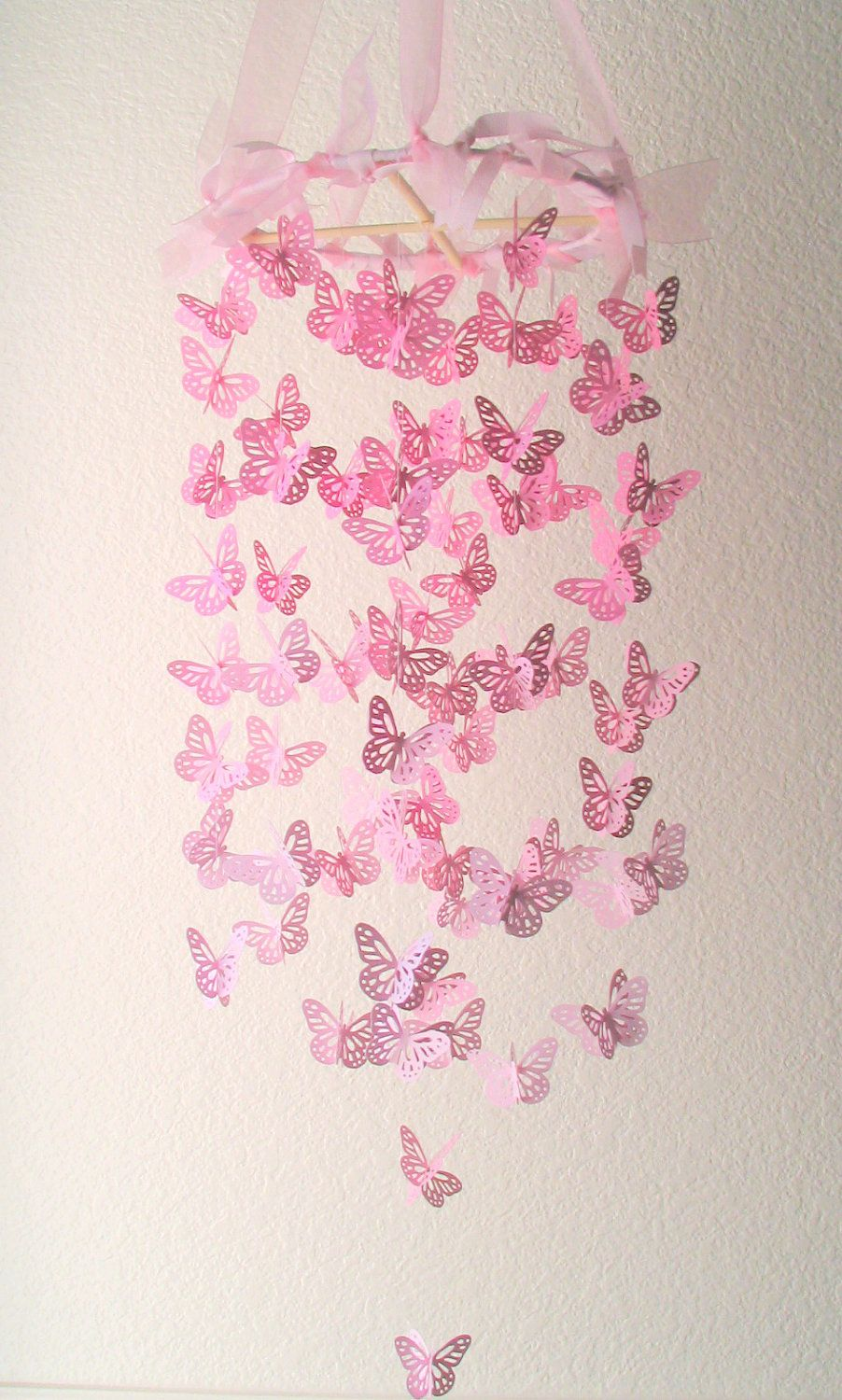 Items Similar To Pink Butterfly Chandelier  Butterfly Chandelier  Mobile,Butterfly Mobile,Nursery Mobile,Baby Girl Mobile On Etsy