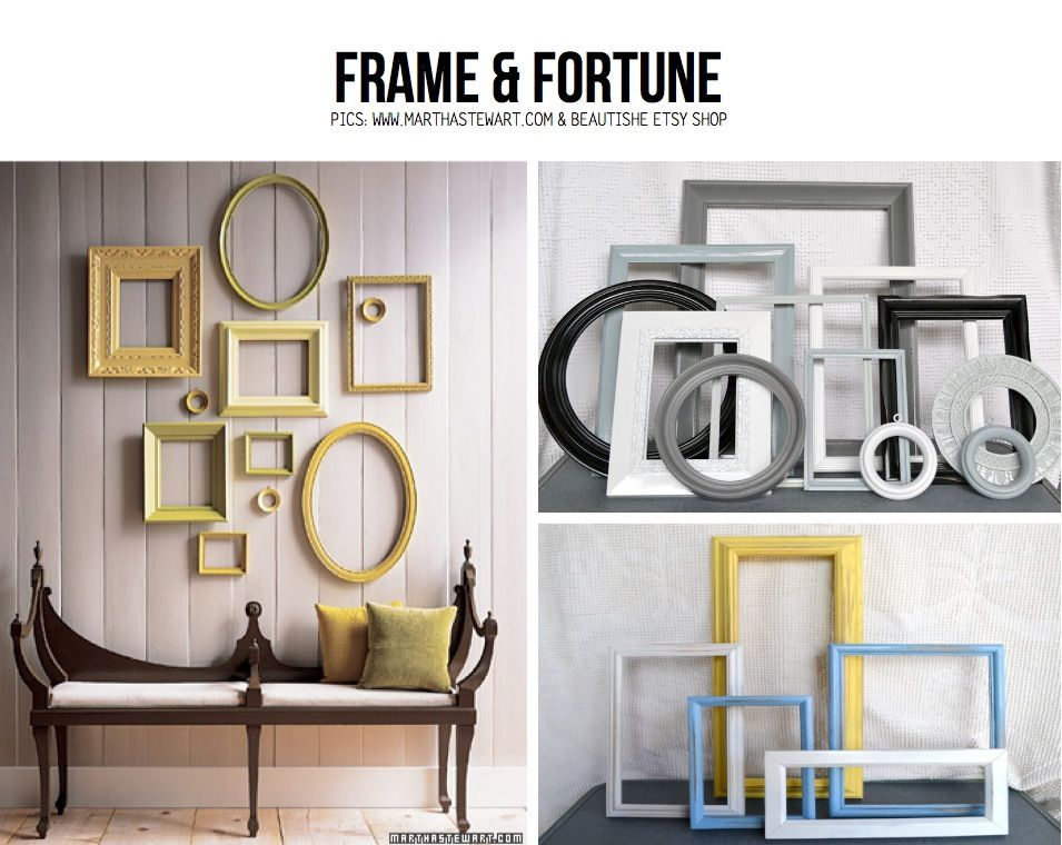frame & Fortune..I love the look of using misc. empty frames as ...