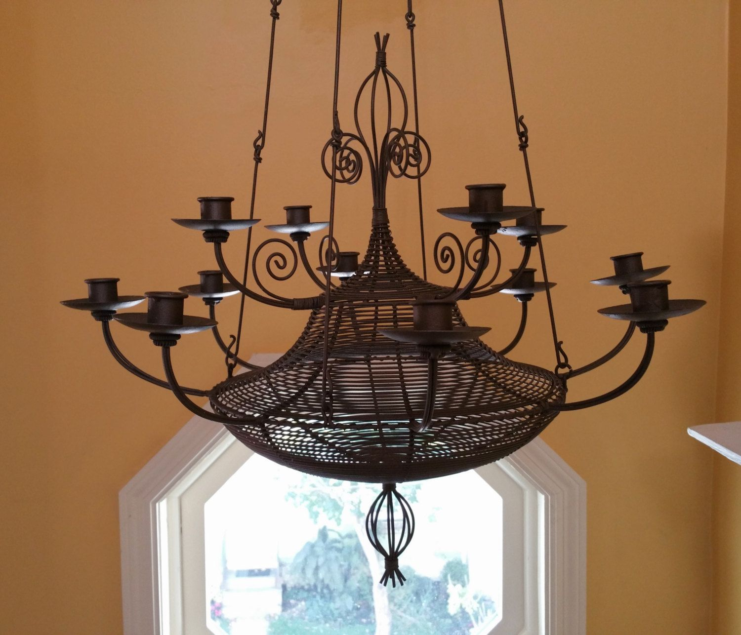 Mid Century Hanging Candle Chandelier Moorish Style Candelier by