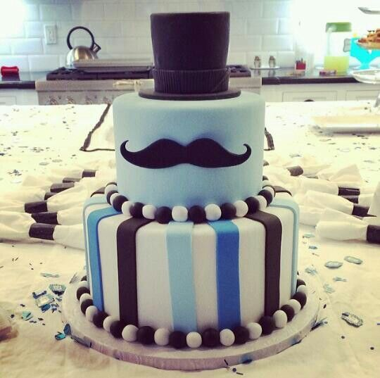 Mustache Cake Top Hat As Top Layer And Solid Blue With Stache As