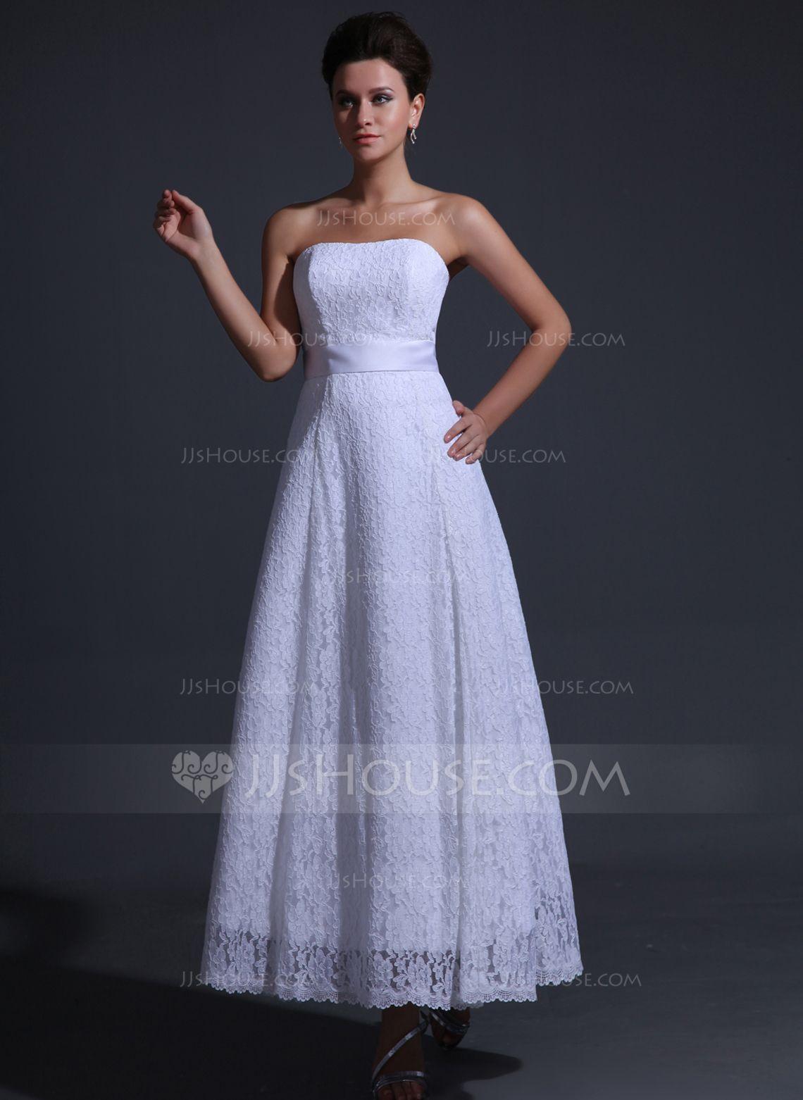 Alineprincess strapless anklelength charmeuse lace wedding dress