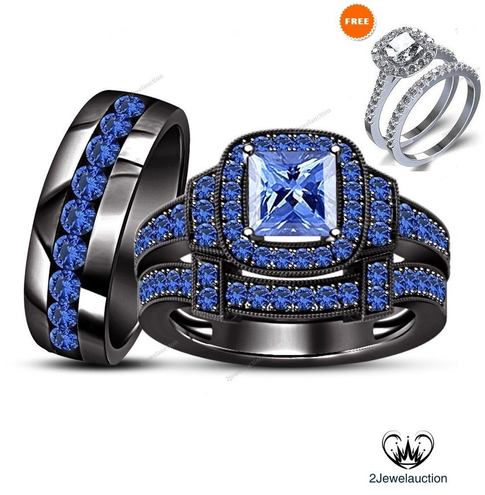 Blue Sapphire 14k Black Gold Bridal Wedding His and H
