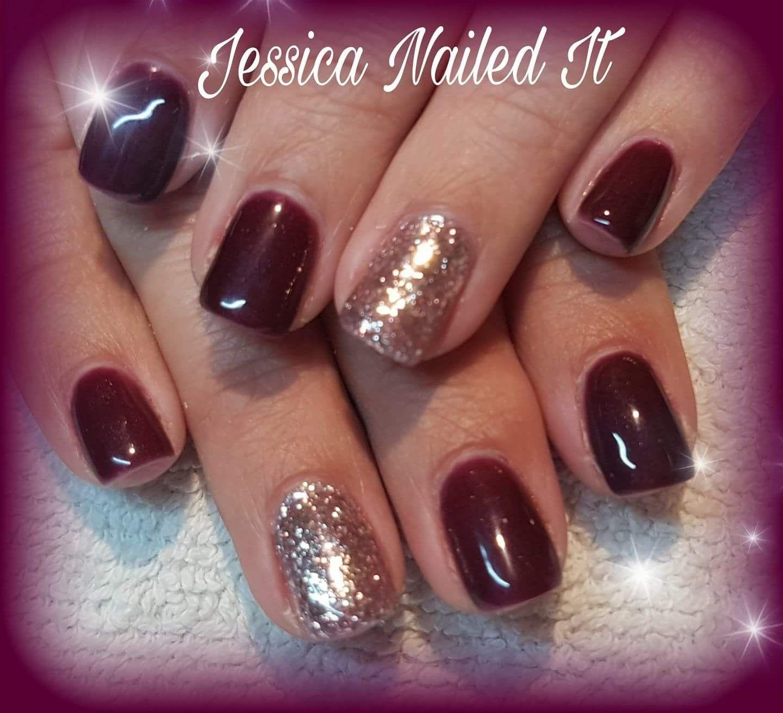 Jessica Nailed It November 2017 Dark Wine With Rose Gold Glitter Nails Rose Gold Nails Glitter Wine Nails Rose Gold Nails