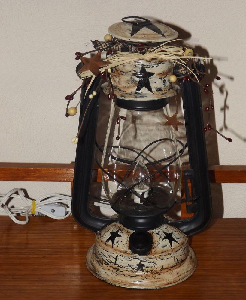Primitive Crackle Star Electrified vintage lantern- Country Farmhouse Decor #NaivePrimitive #handpaintedrefurbishedbyartist